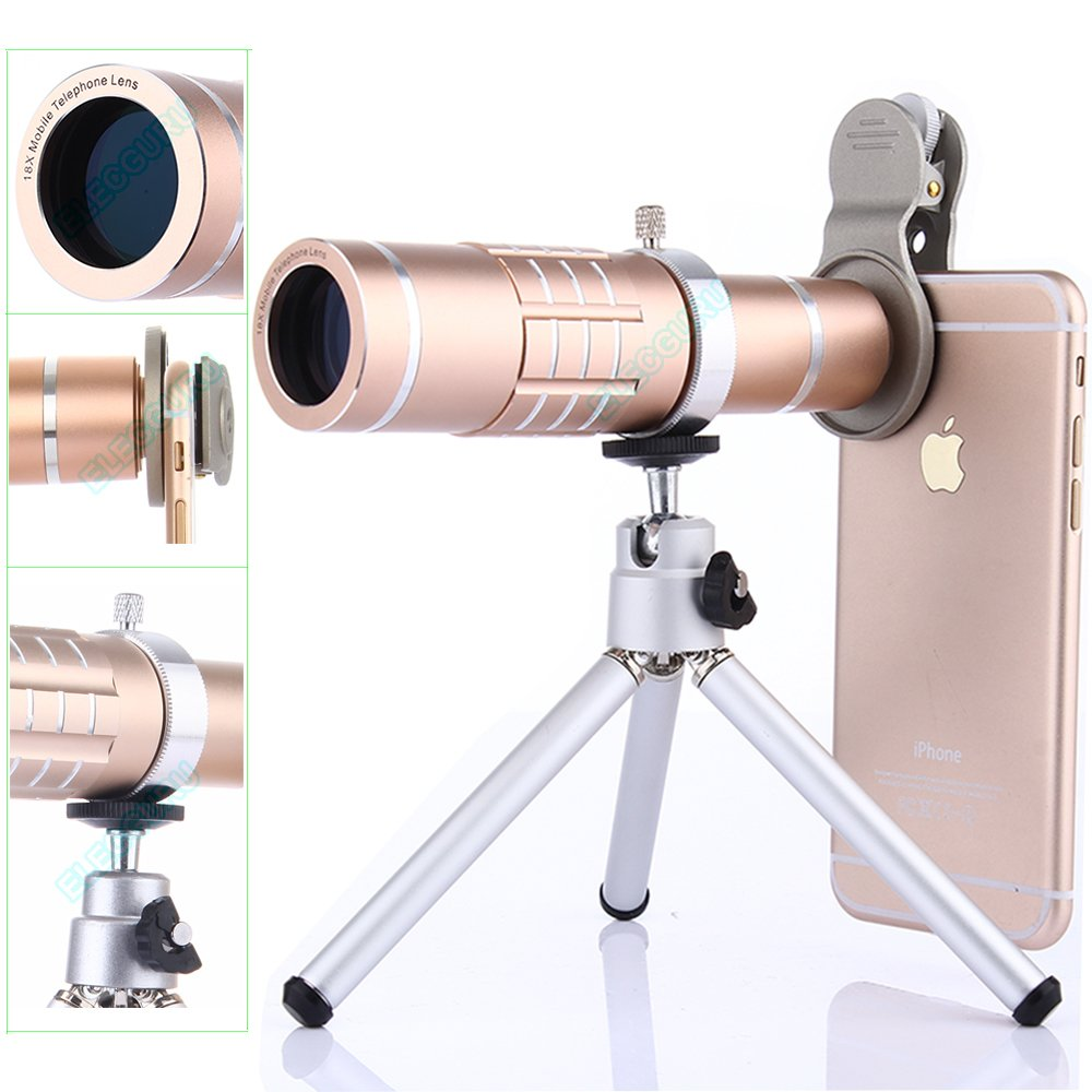 Camera Lens Kit, WMTGUBU 4 in 1 HD Universal Clip-On Phone 18X Optical Zoom Telephoto Lens+15X Macro Lens+0.6X Wide Angle Lens Tripod Phone Samsung Huawei Ipad Tablet PC Laptops(Black) DN0075