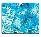 MSD Natural Rubber Gaming Mousepad ethernet rj45 blue lan plugs close up view Image ID 23949423