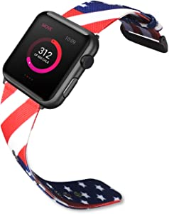 SINGEAR Woven Nylon Bands Compatible with Apple Watch Series 5/4/3/2/1, Stripe Flag Replacement Strap for 44mm 42mm 40mm 38mm