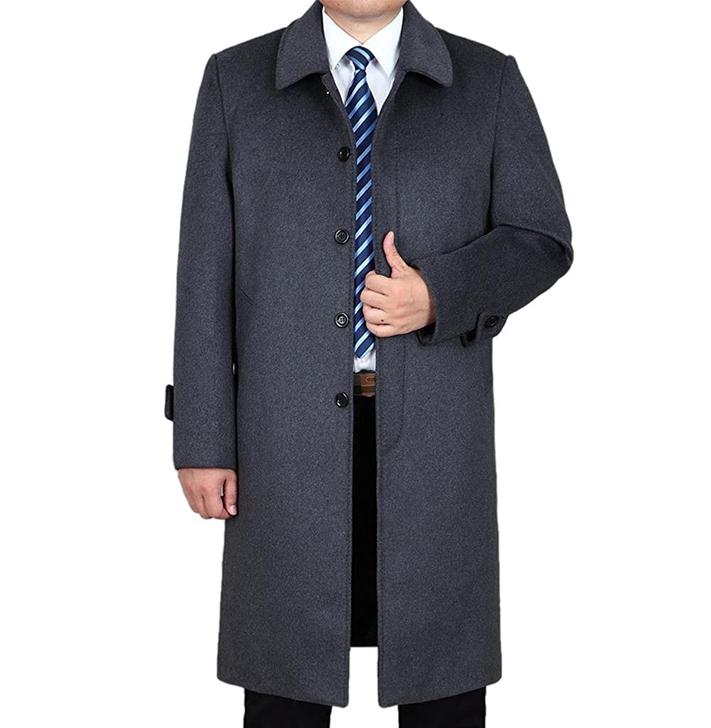 Klorim Men's Classic Single Breasted Overcoat Long Wool Coat