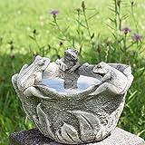 Kretakotta kleine Vogeltränke 3 Frösche, Antiksteinguss, D ca. 20 cm | KK-542 | 4260353197574