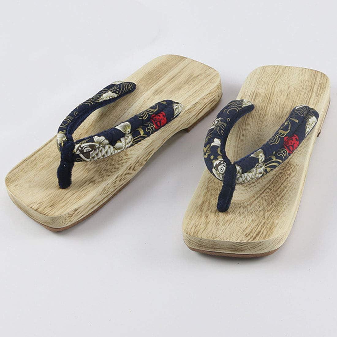 FREAHAP R Une Paire Floral Sandale Homme Femme Pantoufle Tong Bois Geta Japonaise Sabots Cosplay Pantoufles /à Fond /Épais Sandales pour Jeune