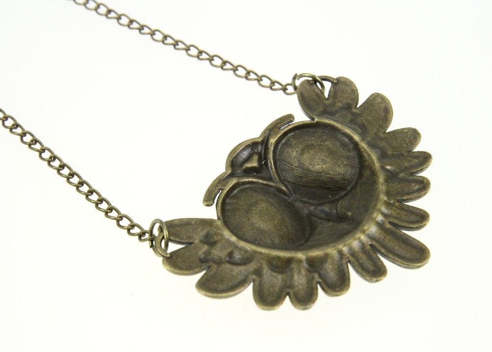 Qinlee Modeschmuck beweglicher Ketten Halskette Anh/änger Eule Bronze Antik Vintage Cute Owl Pendant necklace Perfect