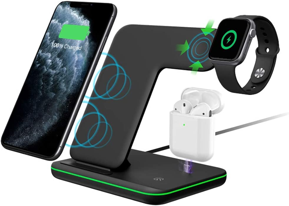 Intoval Wireless Charger,3 in 1 Wireless Charging Station for Apple Watch/Airpods,Qi Certified Wireless Charging Stand for iPhone 11/11 Pro/XS Max/XS XR All Qi-Enabled Phones.(No AC Adapter)