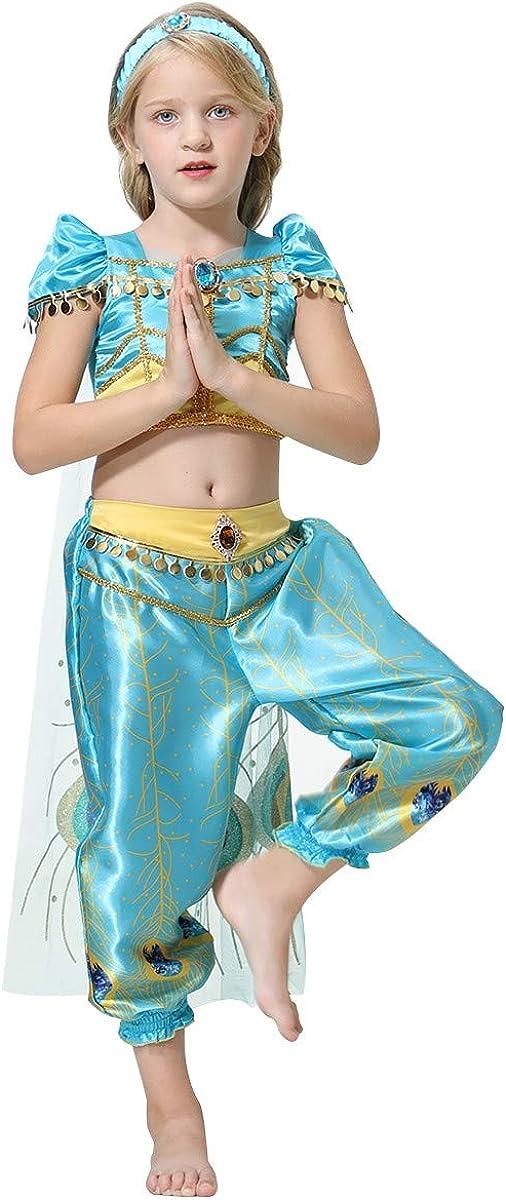 IZKIZF Kids Girls Jasmine Costume Arabian Princess Aladdin Halloween Cosplay Dress up Birthday Party Outfit