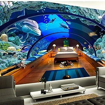 Mbwlkj Tapete Jede Größe 3D Hd Tapete Foto Unterwasserwelt Aquarium  Wandbilder 3D Wohnzimmer Tv Einstellung