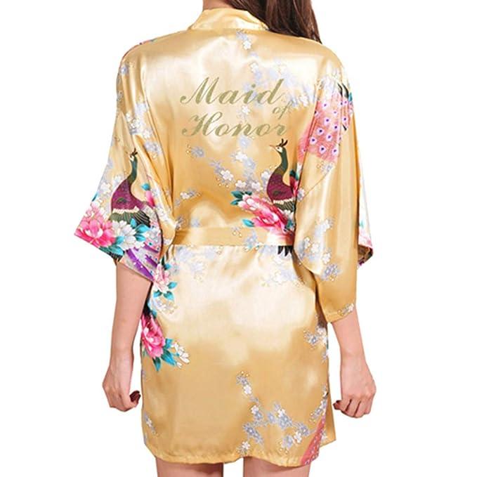 Juleya Mujeres Ropa de Dormir de Satén Floral Pavo Real Kimono Bata de Baño Carta Dama de Honor Batas de Boda: Amazon.es: Ropa y accesorios