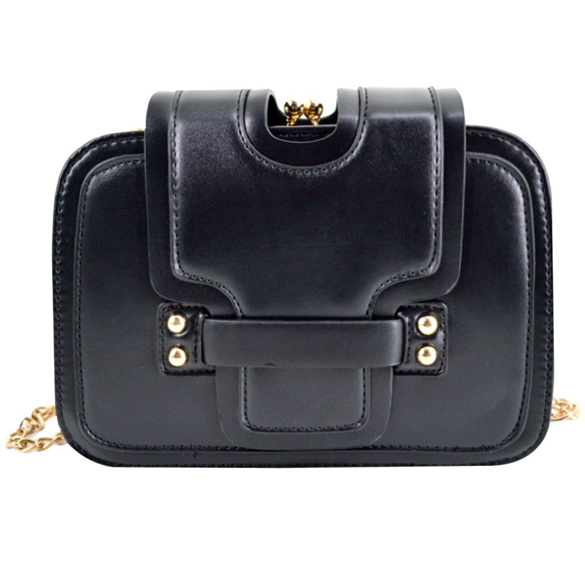 Rebecca PU Leather Chain Strap Shoulder Bag Ladies Handbag Evening Party Wedding Purse (Black)