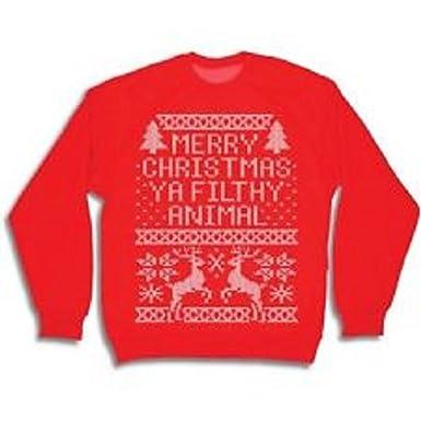 Merry Christmas Ya Filthy Animal Men's Crew Neck Sweatshirt, Red ...