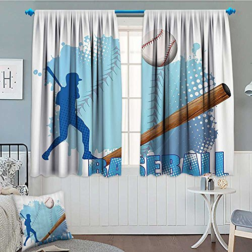 SeptSonne-Home Sports Decor Patterned Drape for Glass Door Silhouette of A Baseball Player with Basic Game Icons Kicking with Bat Sports Decorative Waterproof Window Curtain 52