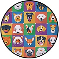 Printing Round Rug,Dog Lover Decor,Dog Breeds Profiles Pets Shepherd Terrier Labrador Domestic Animals Illustration Mat Non-Slip Soft Entrance Mat Door Floor Rug Area Rug For Chair Living Room,Purple