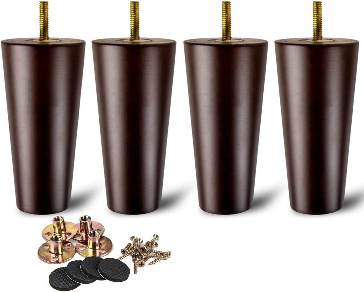 4 inch / 10cm Wooden Furniture Legs, La Vane Set of 4 Walnut Solid Wood Tapered M8 Furniture Replacement Feet with Pre-Drilled 5/16 Inch Bolt & Mounting Plate & Screws for Sofa Chair Couch Ottoman