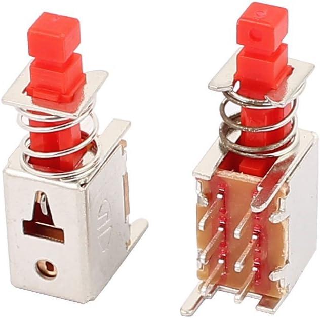 DealMux 10Pcs 6 Pin 2 mm Pitch de auto-bloqueo moment/áneo DPDT Micro interruptor de bot/ón
