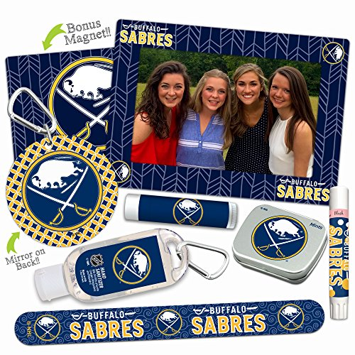 (Buffalo Sabres Deluxe Variety Set with Nail File, Mint Tin, Mini Mirror, Magnet Frame, Lip Shimmer, Lip Balm, Sanitizer. NHL gifts for women Mother's Day, Stocking Stuffers)