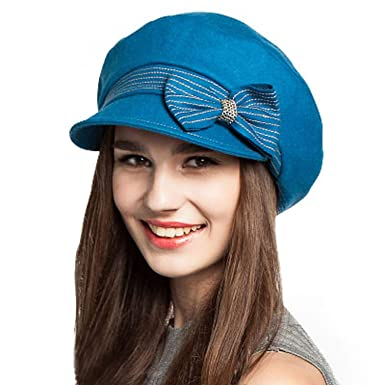 MEIZOKEN Solid Color Newsboy Cap Women Winter Wool Felt Hats with Bowknot Wide Brim Gorras Planas