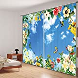 """Newrara Colored Butterfly and Flower with Blue Sky 3D Printed Polyester Curtain 2 Panels For Living Room&Bedroom,Free Hook Included (104W95""""L, Blue)"""