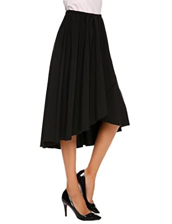 0f4862e5480bc5 Shine Women's High Waisted A line Street Skirt Skater Pleated Full Midi  Skirt Long Length -