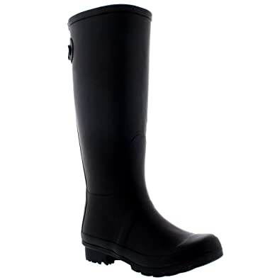 20a7ee0d0e90 Womens Adjustable Back Tall Waterproof Winter Rain Wellies Wellington Boots  - Black - 6-37