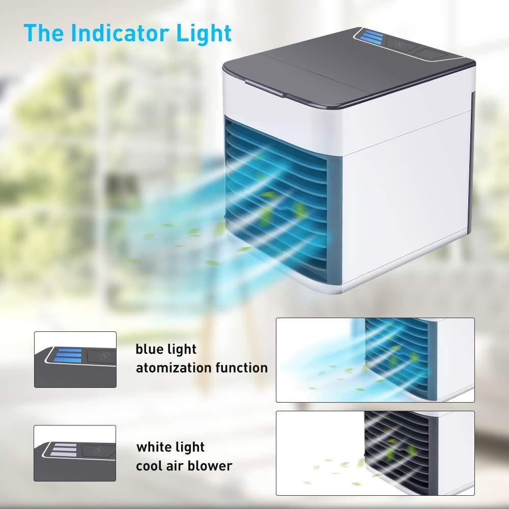 Climatizadores Evaporativos Mini Enfriador de Aire Portatil USB Enfriadores de Aire Evaporativo Personal 3 Velocidades Air Space Cooler con 7 Colores Luz LED