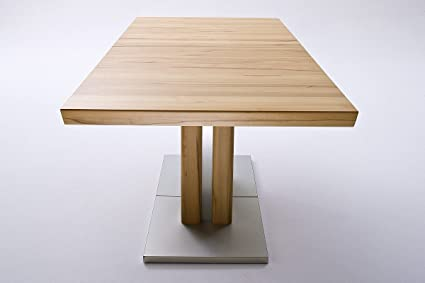 Robas Lund Tisch Esstisch Säulentisch Bari ausziehbar Kernbuche massiv Edelstahloptik 180(330) x77x90 cm