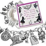 Alice in Wonderland Looking Glass Charm Bracelet with Presentation Gift Box Ladies Girls