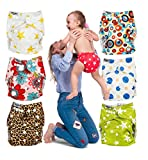 Cloth Diapers Covers for Baby - Set of 7 Reusable Pocket Diaper All In One - For Boys and Girls - Bright Colors Unisex - Great Baby Shower Gift