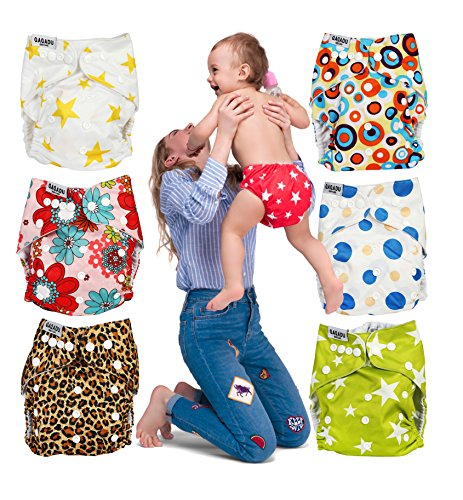 Cloth Diapers Covers for Baby - Set of 7 Reusable Pocket Diaper All In One - For Boys and Girls - Bright Colors Unisex - Great Baby Shower Gift by QAQADU