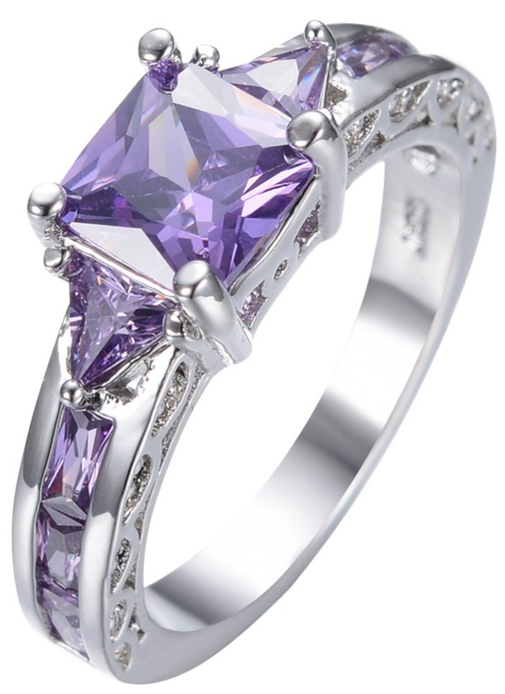 SaySure 10KT White Gold Filled Amethyst Anniversary Wedding & Engagement Ring