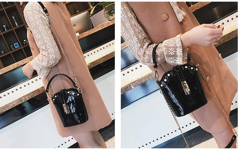 Color : C, Size : 20X18X9cm XF Hong Tai Yang Womens Fashion Bucket Bag Patent Leather Rivet Shoulder Bag Shoulder Bag Wild Chain Messenger Bag