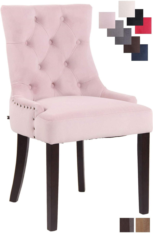 CLP Chaise de Salle /à Manger Aberdeen en Velours I Rembourrage /Épais I Chaise avec Dossier Et Pi/étement en Bois d/'H/év/éa Rose Antique