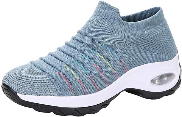 YWLINK Zapatillas De Mujer Talla Grande Zapatos De Punto Transpirables De Malla Casual Mocasines con Plataforma Antideslizante Zapatos De Sacudida Zapatos De Trekking MontañIsmo Deportes Aire Libre: Amazon.es: Zapatos y complementos