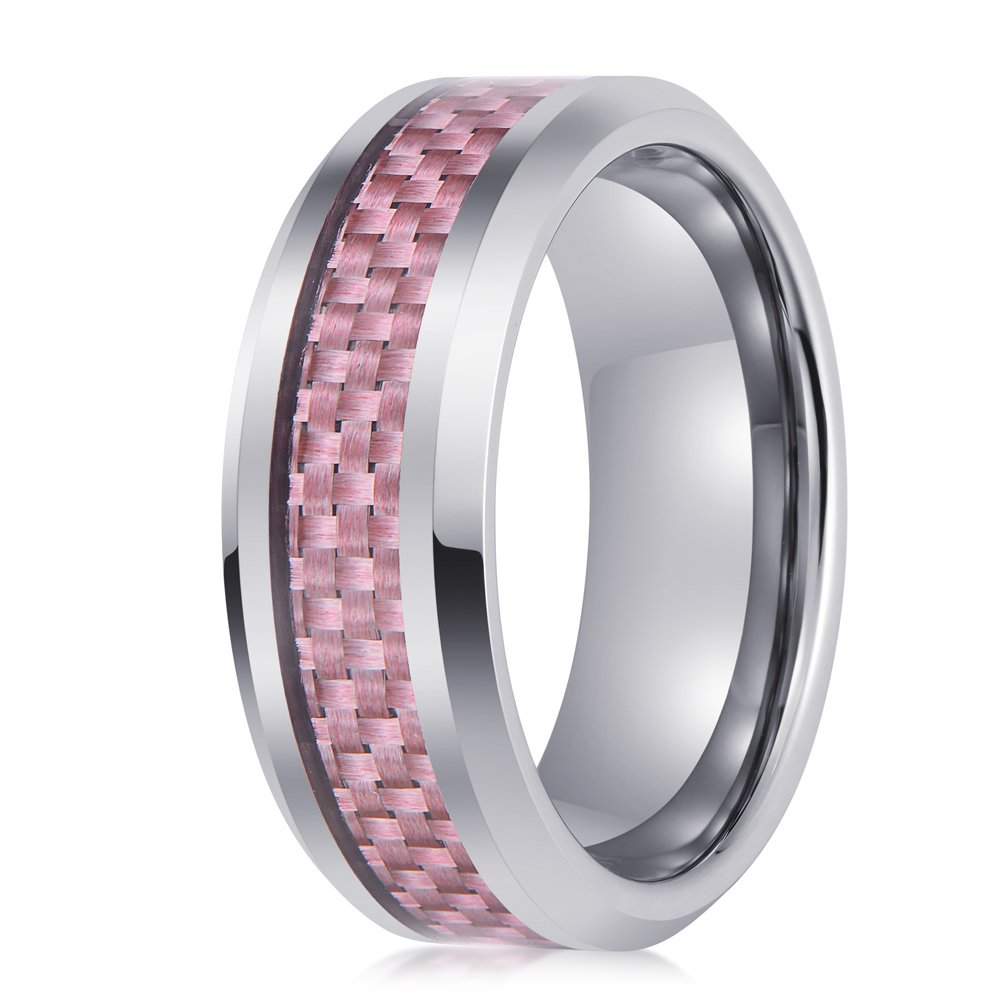 PINONLY Tungsten Carbide Wedding Band Women 15mm Engagement Ring-Pink Carbon Fiber-Polished Edges-Smooth Round Interior Comfort Fit