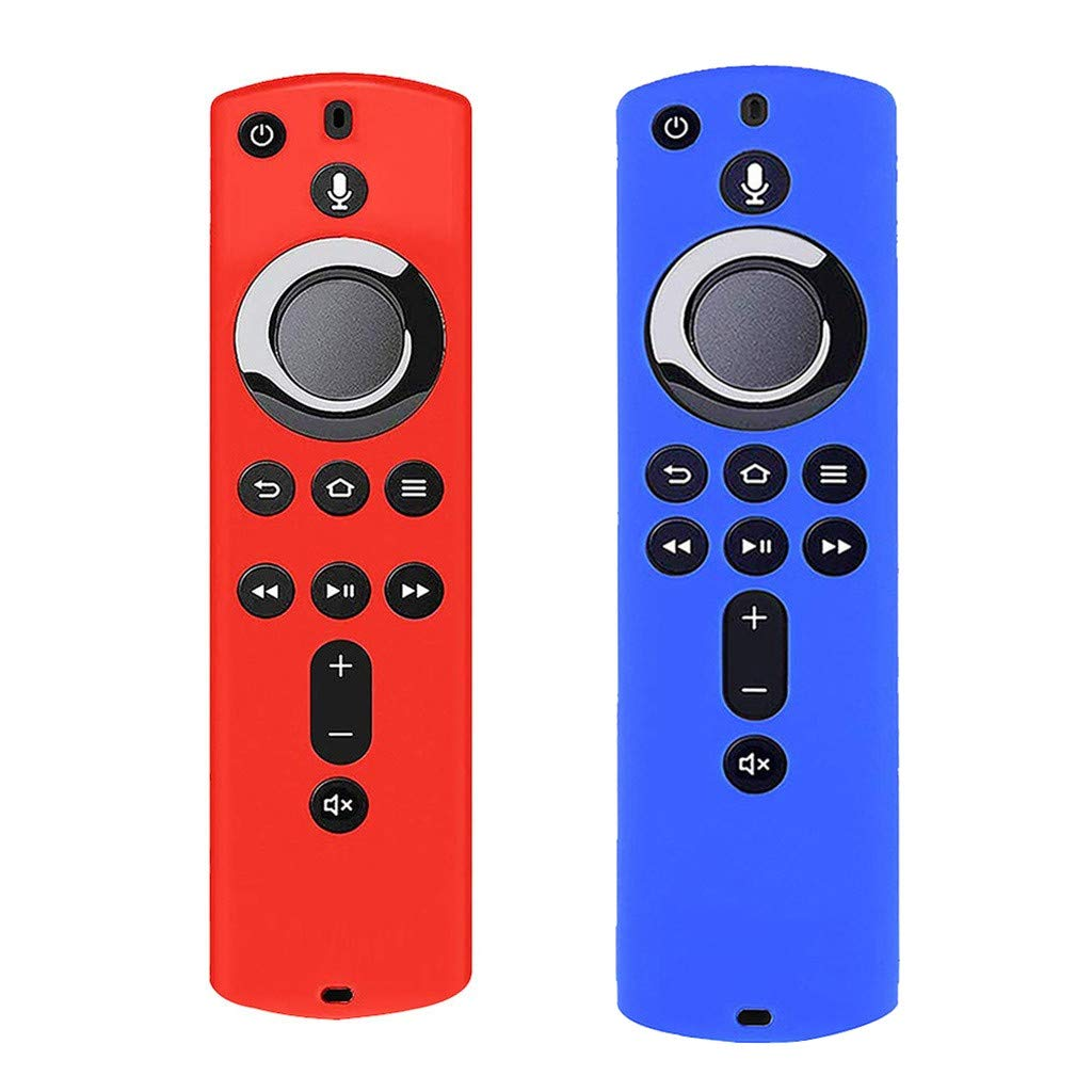 Transser 2 Pack Silicone Protective Case Compatible with  Fire TV Stick 4K Remote Shock Proof Anti Slip