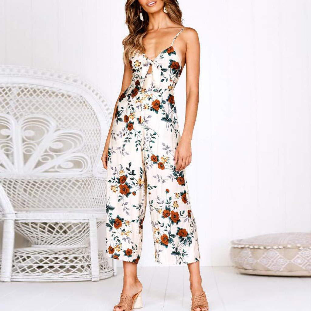 3401ac0d660 Amazon.com  Women Jumpsuit Casual Sexy Strap V Neck Floral Sleeveless  Pockets Camisole Backless Bow Wide Leg Pants Rompers Summer Beach  Playsuits  Toys   ...