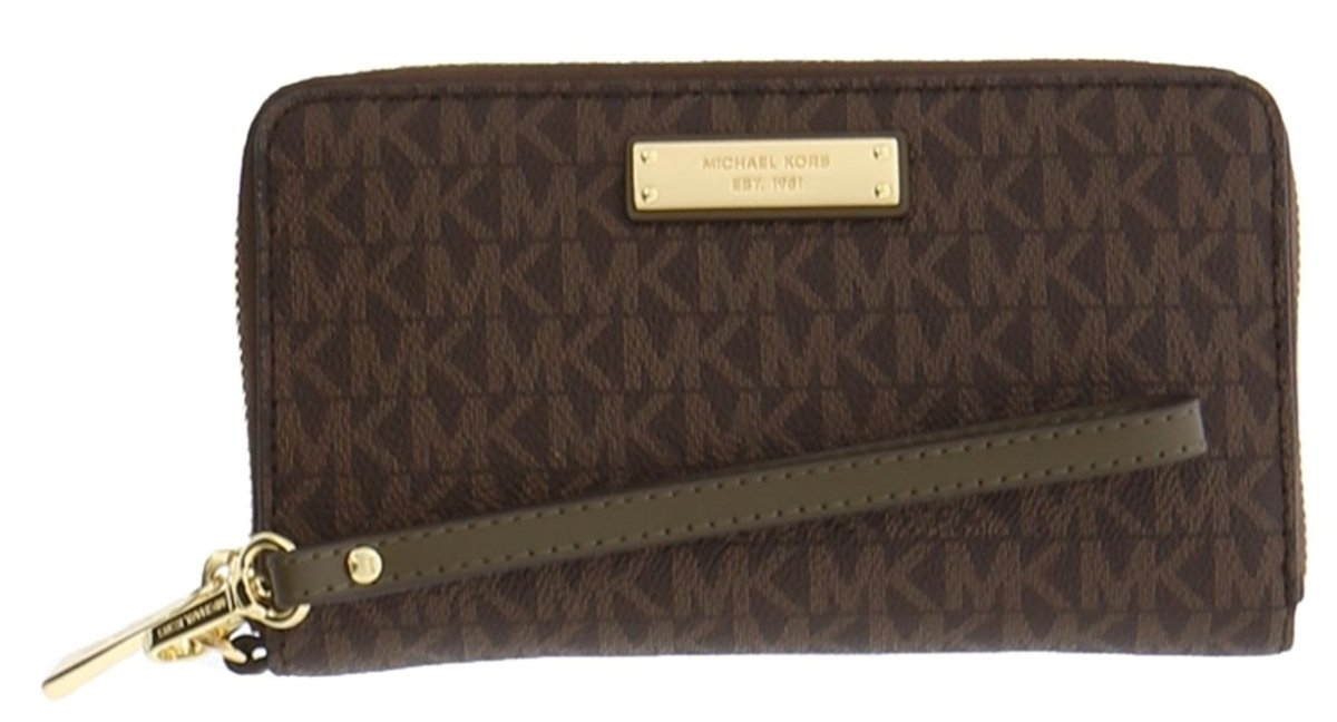 Michael Kors Womens Jet Set Travel Logo Continental Wristlet Wallet Brown O/S