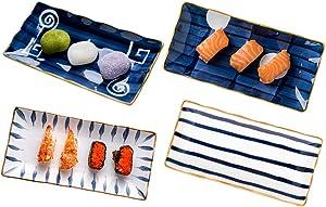 MDZF SWEET HOME Porcelain Sushi Plates Rectangular Platters Serving Trays Dinnerware Set, Set of 4