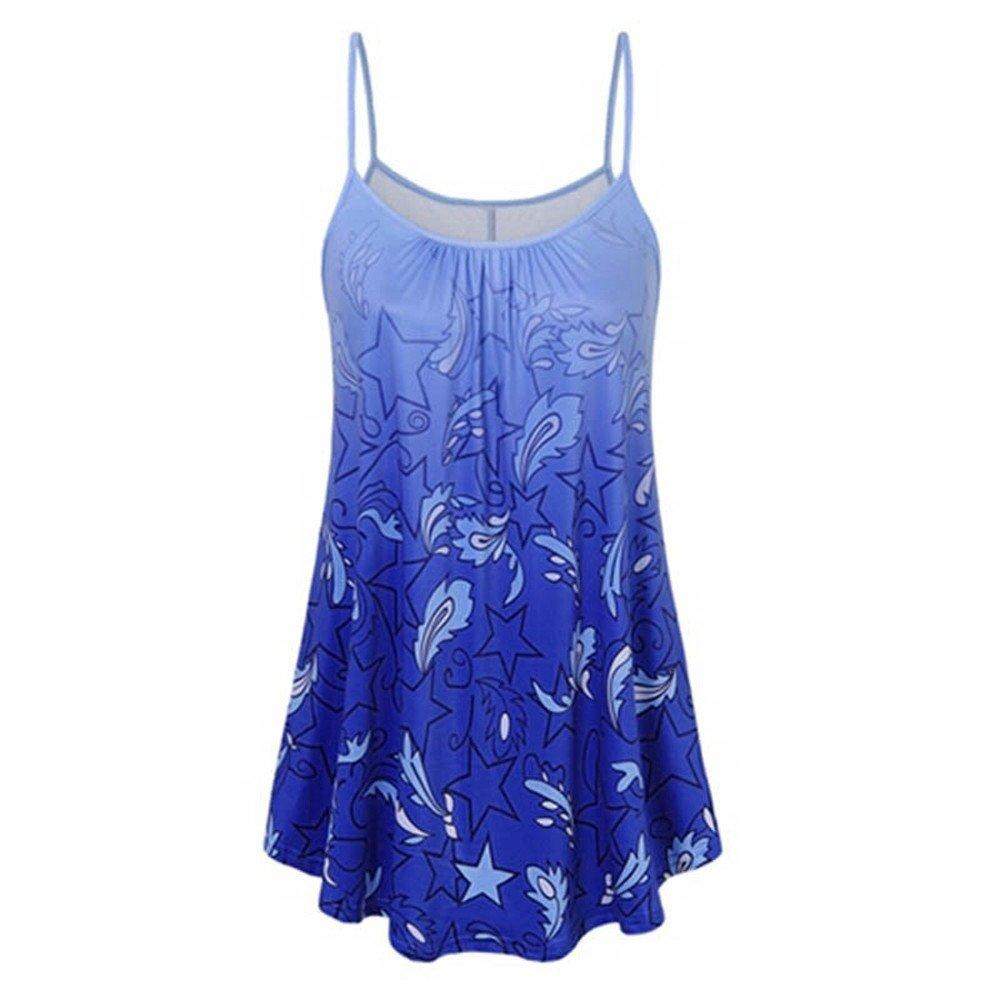 Zaidern Women's Camisole Women Summer Printing Shirt Sleeveless Vest Casual Tank Tops Blouse Blue