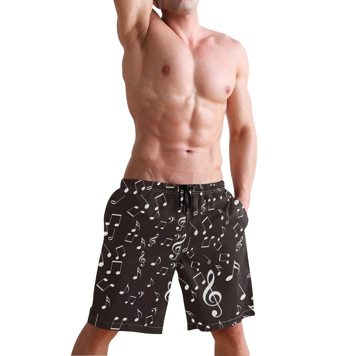 Mens Beach Swim Trunks Music Note Black and White Boxer Swimsuit Underwear Board Shorts with Pocket