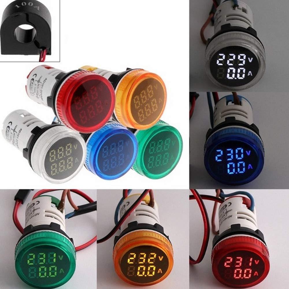 Blue Round 0-100A Ammeter 22mm Car Ammeter Voltmeter AC20-500V Gauge Volt Meter for Car Vehicles