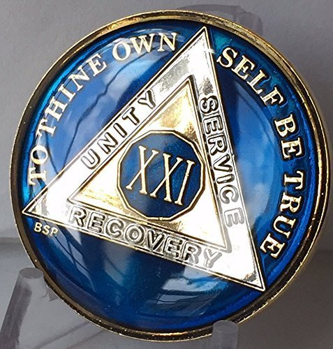 21 Year Midnight Blue AA Alcoholics Anonymous Medallion Chip Tri Plate Gold & Nickel Plated