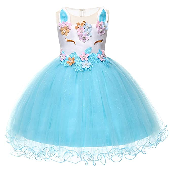 Kids Unicorn Cosplay Costume Dress Girl Princess Flower Birthday Cake Smash Pageant Fancy Party Tutu Dresses