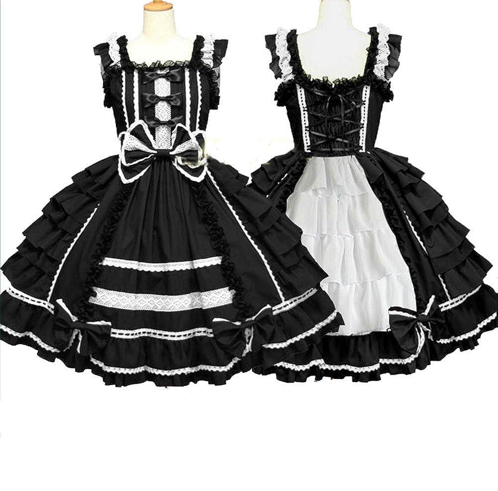 d9fdd2692b8 zhiqing Womens Anime Cosplay Maid Costume Lolita Waitress Uniform Princess  Dresses (Black)  Amazon.co.uk  Clothing