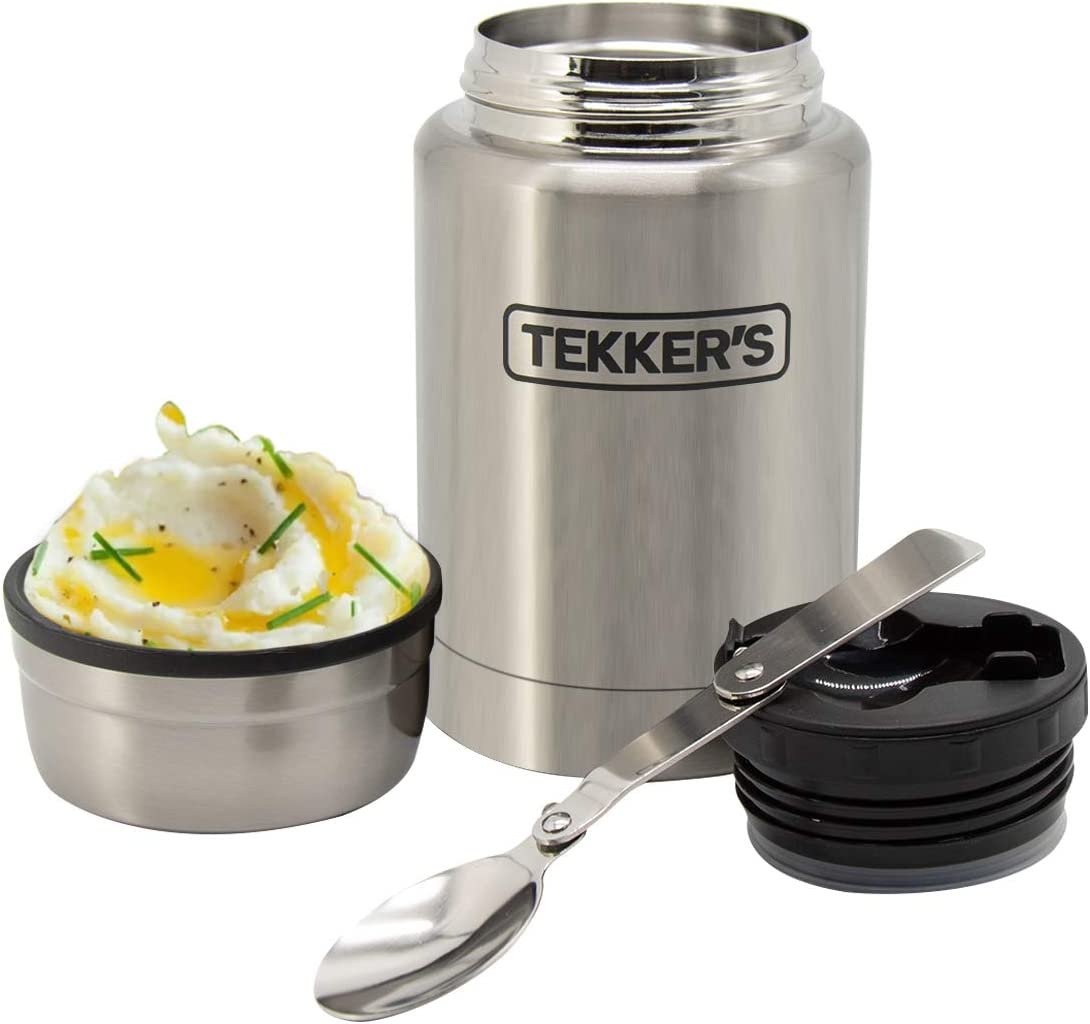 Food Jar Insulated TEKKER'S 17 Oz Thermoses Stainless Steel Lunch Vacuum Bottle with Folding Spoon for School Office Picnic Travel Outdoors (Stainless Steel)