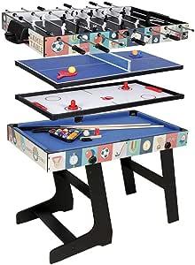Fran_store - Mesa de Juego 4 en 1 con futbolín de fútbol, Tenis, Hockey, Billar, Mesa Multifuncional, Regalo de cumpleaños: Amazon.es: Deportes y aire libre