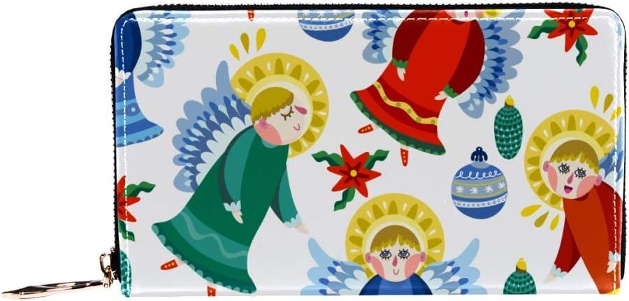 Cartera con cremallera alrededor de la mujer y el teléfono embrague, diseño de copos de nieve mágicos de ángeles de nieve, bolso de viaje de cuero bolso de embrague de bolso organizador de tarjetas