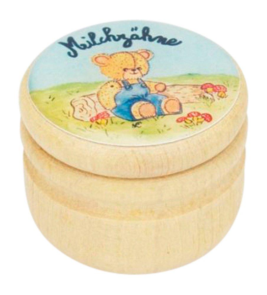 Milchzahndose aus Holz mit blauem B/ärenmotiv Zahndose Milchz/ähne