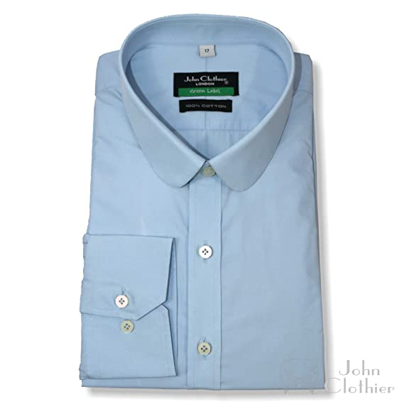 undefeated x better price elegant appearance Mens Penny collar shirt 100% Cotton Round collar Sky Blue ...