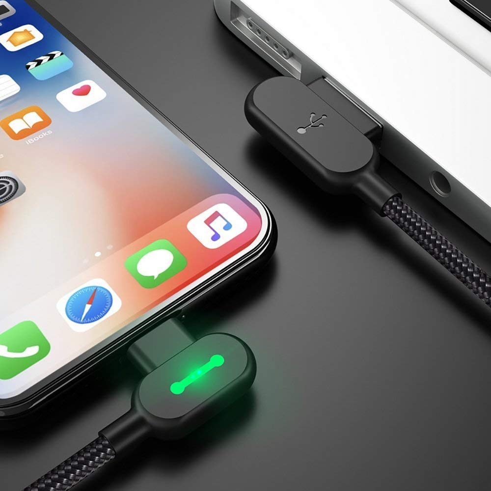 (2 Pack + iPhone Bag) USB 90 Degree Right Angle Design Gaming iPhone LED Nylon Braided Sync Charge New USB Reversible Data 6FT/1.8M Cable Compatible iPhone/iPad Pro/Air ,iPad mini,iPod (6FT Black) by MCDODO (Image #7)