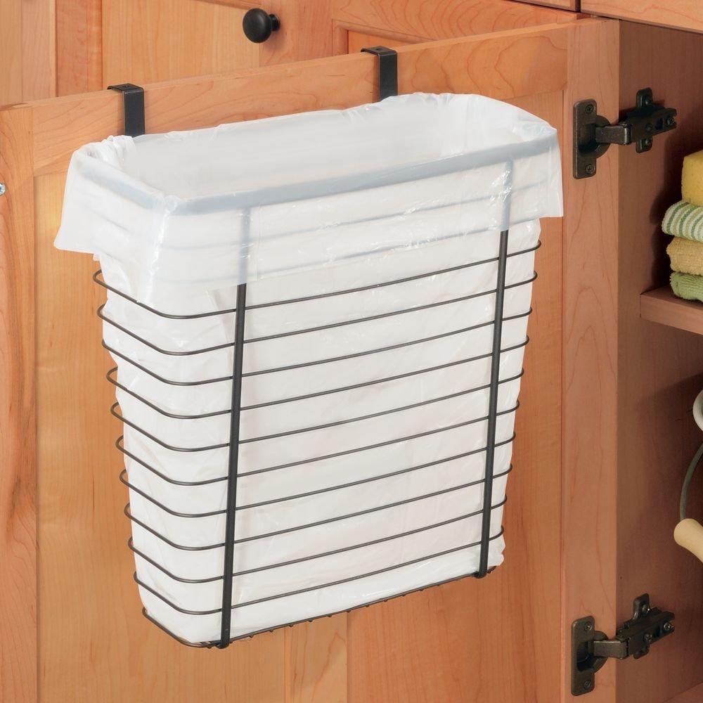 Amazon.com: InterDesign Axis Over The Cabinet Wastebasket Trash Can Or  Storage Basket For Kitchen   Bronze: Home U0026 Kitchen