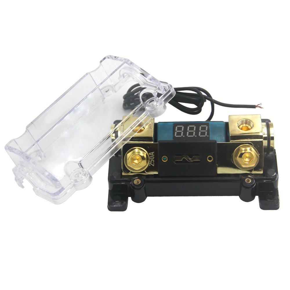 ZOOKOTO 250A Fuse Holder,Car Stereo Audio Led Display Digital Voltage Inline ANL Fuse Holder 0 2 4 Gauge in out with 250 Amp Fuse by ZOOKOTO (Image #2)
